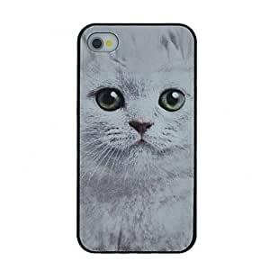 DUR Cute White Cat Pattern PC Hard Back Cover Case for iPhone 4/4S