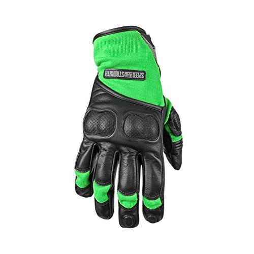 Speed and Strength Tough As Nails 2.0 Men's Leather/Textile On-Road Motorcycle Gloves - Green/Black / 2X-Large