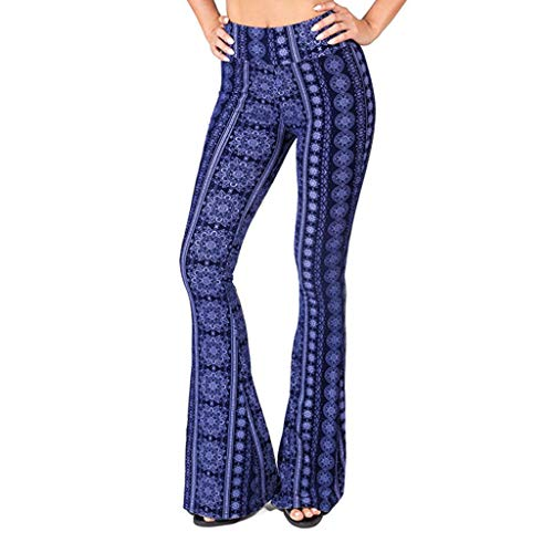 Wintialy Women Pants, Women Print High Waisted Broad Legged Yoga Pants Ladies Tight and Elastic Pants Blue (Lee Side Elastic Twill Pants Plus Size)