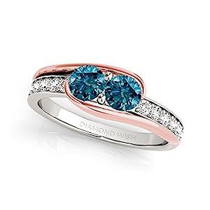 14k Two-Tone Gold Round-cut Blue Diamond 2-Stone Ring (3/4 cttw, Blue, H-I, I1-I2)