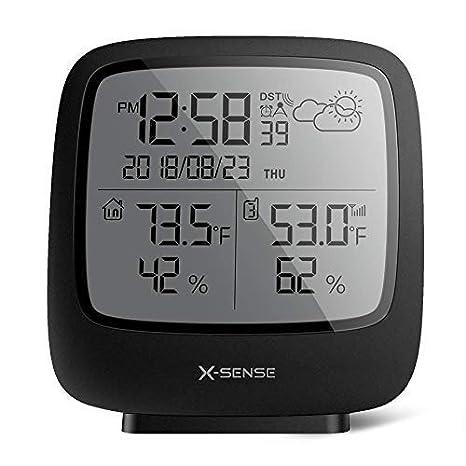X-Sense Estación meteorológica inalámbrica con sensor exterior, termómetro digital higrómetro para interiores y