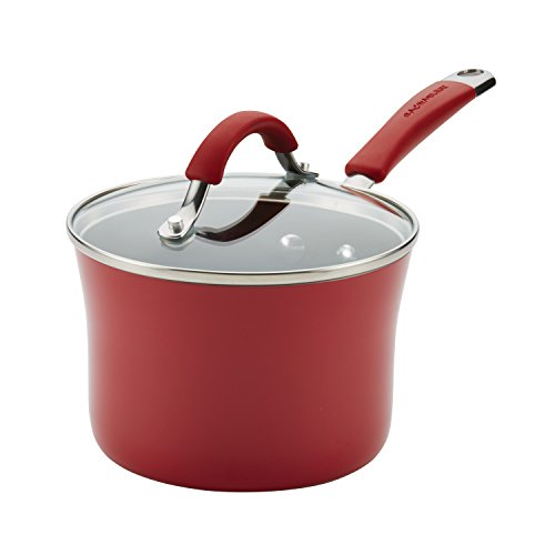 Rachael Ray Cucina Hard Porcelain Enamel Nonstick Covered Saucepan, 2-Quart, Cranberry Red