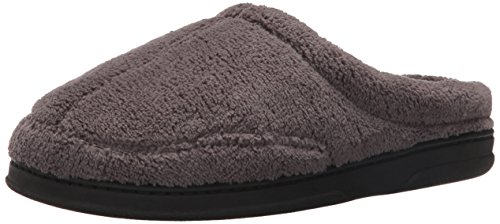 Dearfoams Men's Microterry Clog Slipper, Pavement, Large/11-12 M US