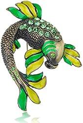 Colorful Czech Crystal Rhinestone Enamel Painted Koi Fish Fashion Brooch Pin