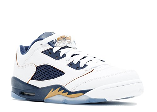 "Jordan Air 5 Retro Low (GS) ""Dunk From Above"" Big Kid's Shoes White/Metallic Gold Star-Midnight Navy 314338-135 (7 D(M) US)"