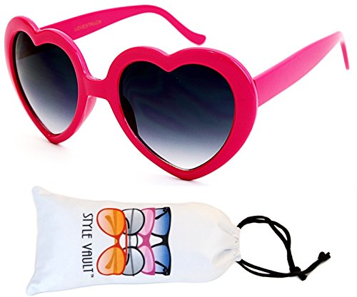[WM3099-VP Style Vault Plastic Heart Shaped Sunglasses (B3347F Pink-Smoked, UV400)] (Ladies Cupid Costumes)
