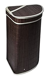 Dwellbee Tres Bamboo Corner Laundry Hamper With Lid Dark Brown Bamboo Cream Trim