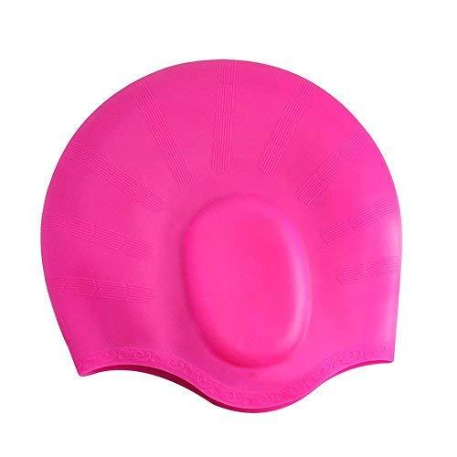 YJWB Swim Cap Non-Toxic Tasteless Durable High Swim Caps Elasticity Waterproof Dry Hair Oversized Silicone Swimming Cap Unisex Children Adult Curly Hair Long Hair (Pink)