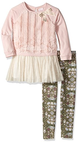 Youngland Girls' Little Cozy Sweatshirt, Tutu and Legging 3-Piece Outfit, Pink/Multi, 4