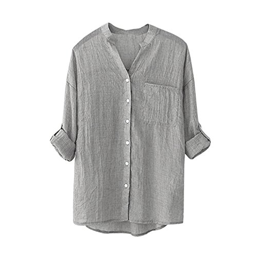 YANG-YI Clearance Women Cotton Solid Long Sleeve Shirt Casua