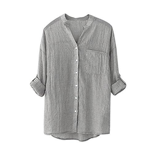 YANG-YI Clearance Women Cotton Solid Long Sleeve Shirt Casual Loose Blouse Button Down Tops (3XL, Gray)