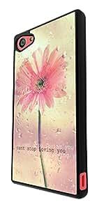 1309 - casebomb Trendy kwaii collage colorido diseño de pingüino can 't stop floral flowers loving you diseño de corazón con mensaje en inglés vaientin para Sony Xperia Z5 Compact con gafas de diseño de plástico y Metal - fino negro