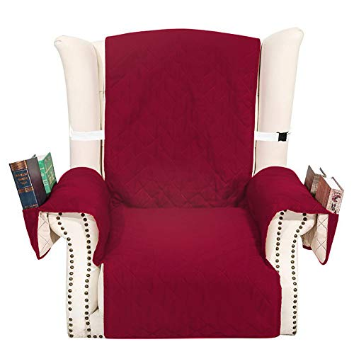 (EPHVODI Reversible Armchair Loveseat Sofa Slipcovers Machine Washable Couch Covers Non-Slip Furniture Protector with Storage Pockets for Pets and Kids(Burgundy,1 Seater))