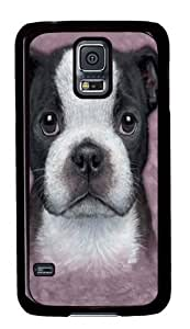 Boston Terrier Puppy PC Case Cover for Samsung S5 and Samsung Galaxy S5 Black