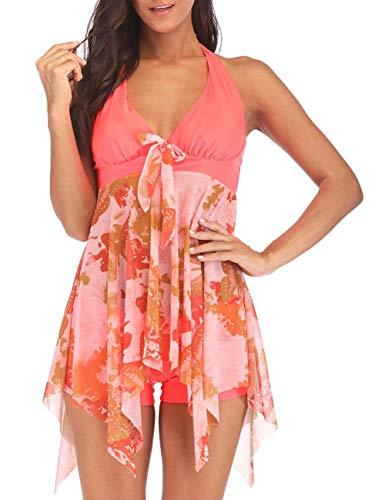 DANALA Women's Two Piece Halter V Neck Swimsuit Printed Tankini Sets Split Skirt Swimwear Orange L