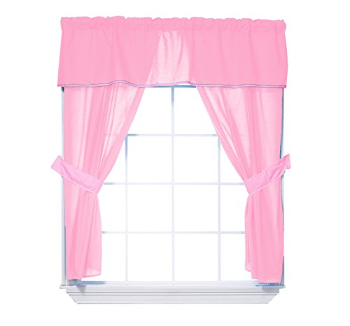 Baby Doll Bedding Solid 5-Piece Window Valance Curtain Set, Pink by BabyDoll Bedding