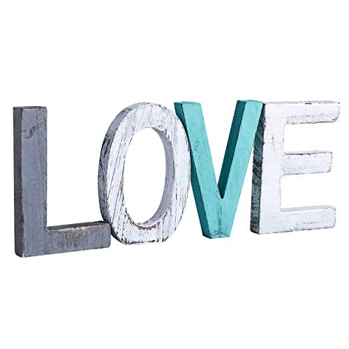 Y&Me Rustic Wood Love Sign, Decorative Wooden Block Word Signs, Freestanding Wooden Letters, Rustic Love Signs for Home Decor,16.5 x 5.9 Inch, Multicolor (Color Teal Ideas Bedroom)