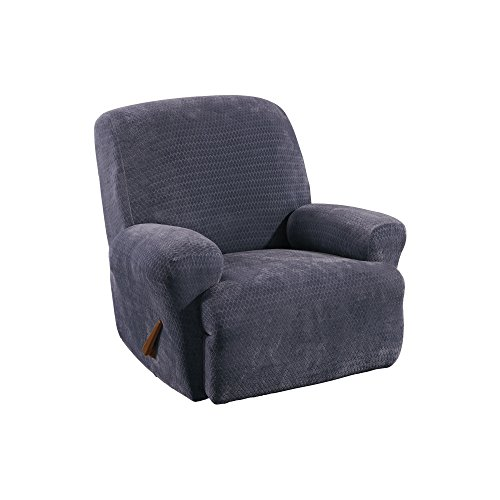 SureFit Stretch Royal Diamond 1-Piece - Recliner Slipcover - Storm Blue