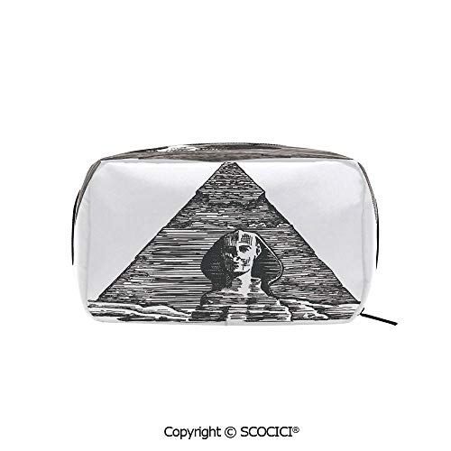 Rectangle Beauty Girl And Women Cosmetic Bags Sketch Style Art of the Sphinx and the Pyramid Old Ancient Empire Historical Icon Printed Storage Bags for Girls Travel