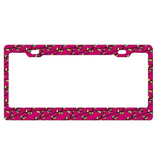 (Patterns Pink Vines Universal License Plate Frame, Aluminum Metal License Plate Frame for US Standard Car License)