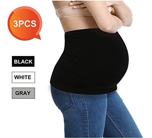 Womens Maternity Band Seamless 3 Pack Everyday Support Bands for Pregnancy Black,White,Grey L
