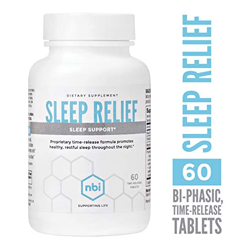 NBI Sleep Relief Melatonin Natural Formula | Soothing Bedtime Sleep Aid Supplement | Insomnia Support with Magnesium and L-Theanine | 60ct Tablets - Insomnia Relief 60 Tab