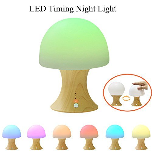 GLIME Timing Night Lights for Kids LED Mushroom Baby Nursery Bedroom Lamps Silicone Bedside Light with  8 Colors / 3 Timer Modes / USB Rechargeable / Simulation Wooden