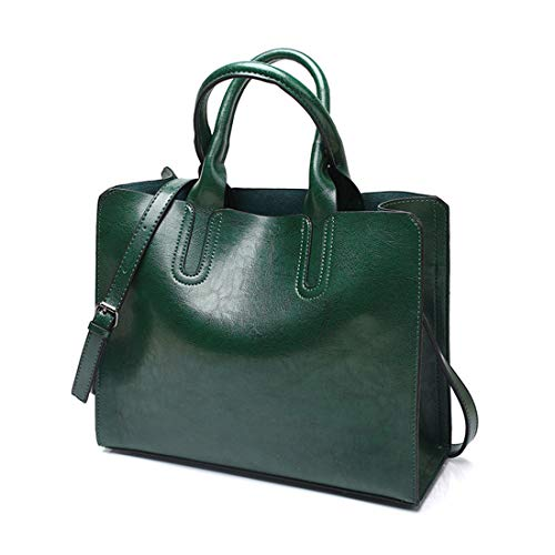 Sauvage À Leisure color Green L'épaule Bandoulière Oil Leather Felicioo Handbag Sac Simple Black q4wTZCfn