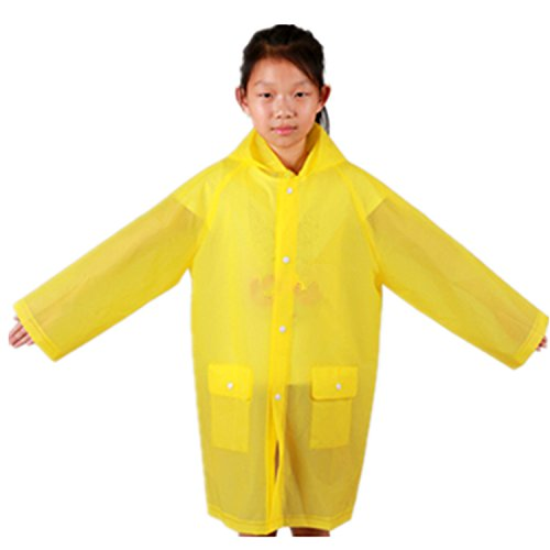Yiluweinir Kids Raincoat With 2 Pockets Girl Boy Waterproof Hood Rain Jacket Outdoor Age 4-14 XL Yellow