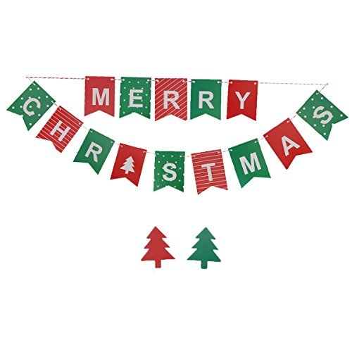 Tinksky Merry Christmas Letter Pattern Garland Bunting Banners Flags XMAS Tree Pendants Door and Wall Hanging Decoration Ornaments Party Decor ()