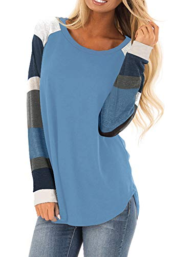 (BUILT CLEAR Women's Multicolor Striped Long Sleeve Tops Casual Loose Fit Tunics Shirts)