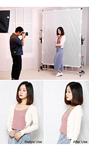 Falcon Eyes Pro Studio Solutions 150cm x 200cm (59in x 78.7in) Sun Scrim - Collapsible Frame Diffusion & Silver/Black Reflector Kit with Pulley can be moved Handle by OPENCLOUD (Image #3)