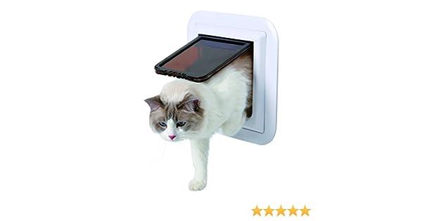 Gatera 4 Posiciones, XL, Puerta Cristal, Blanco: Amazon.es: Productos para mascotas