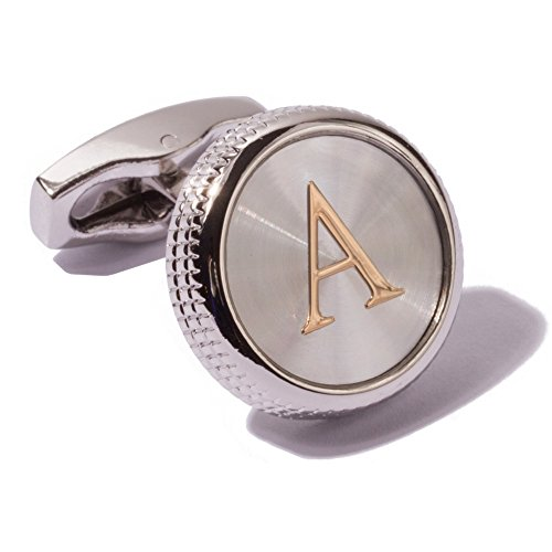 HJ Men's 2PCS Fashion Dazzle Tuxedo Shirts Platinum Plated Cufflinks Initial Letter 2 Color A-Z (silver A)