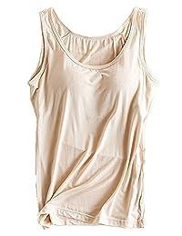 Wheelsp Womens Modal Built-in Bra Padded Active Strap Camisole Yoga Tanks Tops Vest