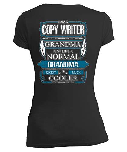 Just Like A Normal Grandma Women's V-Neck Tee, I Am A Copy Writer Grandma T Shirt-Women V-Neck (XL, Black)