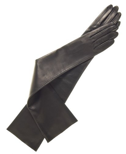 Fratelli Orsini Women's Italian Unlined Opera Length Leather Gloves Size 7 1/2 Color Black by Fratelli Orsini