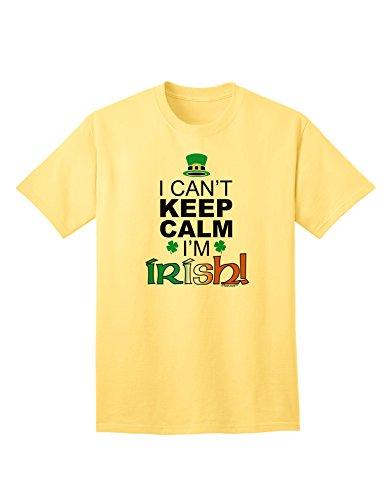 (TooLoud I Can't Keep Calm I'm Irish Adult T-Shirt - Yellow - Small)