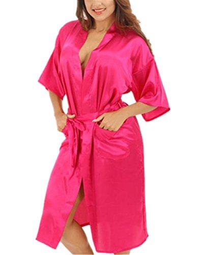 da Notte Kimono Corta Colore Eleganti Comoda Rosy Puro da Femminili Notte Manica da Sleepwear BESTHOO Abito Scivoloso da Notte Vestito Notte Camicia Donna xUfdwA