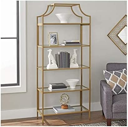 Better Homes and Gardens Nola 5-Open Shelves Bookcase, Gold, Bookcase
