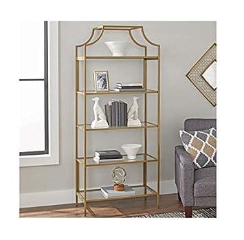 Better Homes and Gardens Nola 5-Open Shelves Bookcase, Gold, Bookcase