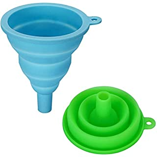 INMAKER Collapsible Funnel Set, 2 Pack, Large, Silicone Foldable Funnel for Water Bottle …