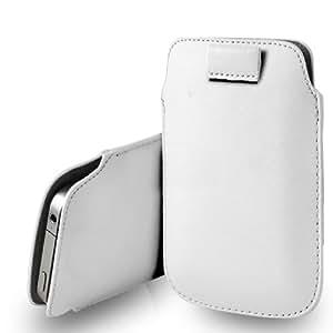 Nokia Lumia 630 cuero blanco Tire Tab caso de la cubierta Pouch + paño de pulido