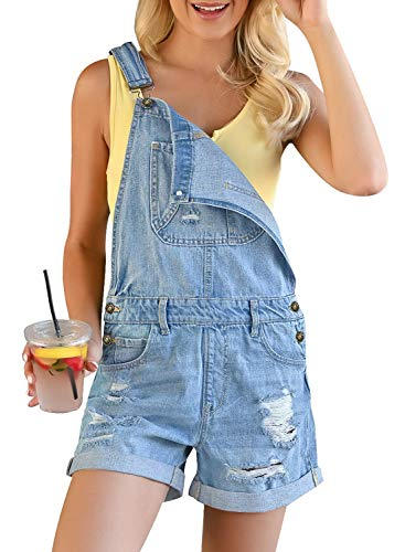 LookbookStore Womens Ripped Denim Bib Overall Shorts Raw Hem Shortall Jeans