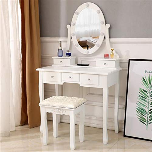 Boylymia Vanity Table with Mirror & LED Lights, 5 Drawers Makeup Dressing Desk with Cushioned Stool Set, White