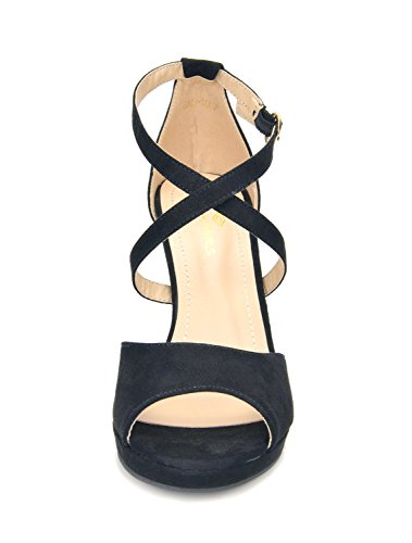 GAL DREAM PAIRS BLACK Sandals Heeled 10 Stilettos Women's Fashion 66AE7TWzq