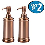 mDesign Liquid Hand Soap Dispenser Pump Bottle for Kitchen, Bathroom   Also Can be Used for Hand Lotion & Essential Oils - Pack of 2, Venetian Bronze