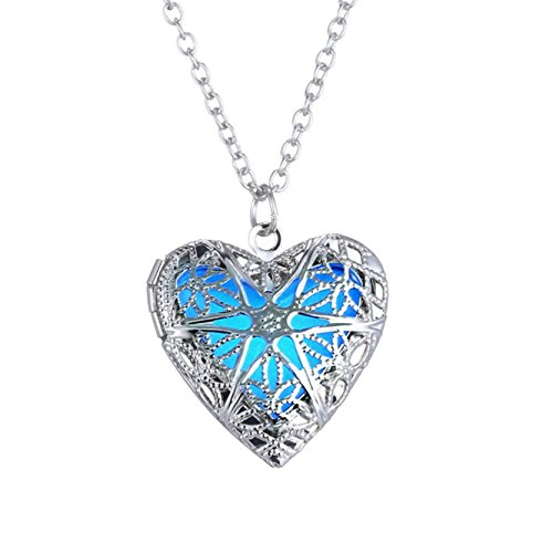 low Charm Pendant Heart Necklace Glow in The Dark Locket Necklace for Teen Girls (Silver 1) ()