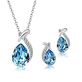T400 Jewelers Swarovski Elements Crystal Waterdrop Pendant Necklace & Earrings Fashion Jewelry Sets Love Gift