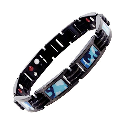 (Mandala Crafts Titanium Magnetic Bracelet Wristband for Men with Military Camouflage, Rubber Accent, Ion Germanium Magnet 4 Elements (Navy))